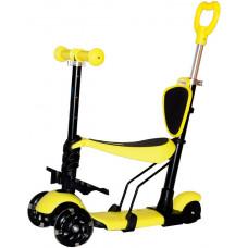Самокат-беговел с родительской ручкой 5 в 1, 8527-S (желтый цвет)