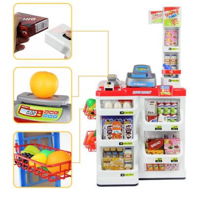 Детский игровой супермаркет с корзинкой, кассой, продуктами и звуком 668-02