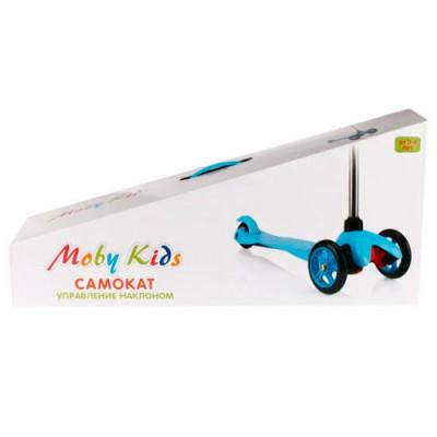 Самокат детский голубой с управлением наклоном, 64552 Moby Kids